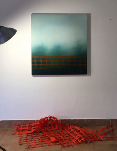 LC#147-2019 80x73cm (installation: various sizes) oil on canvas, orange plastic net