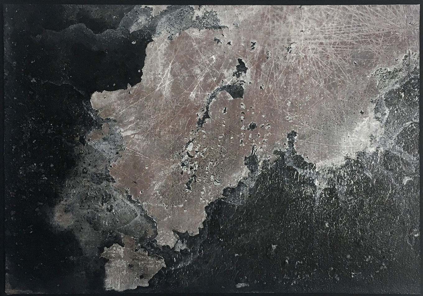 AU#186-2020, 38x38cm, charcoal, gesso, oil on panel