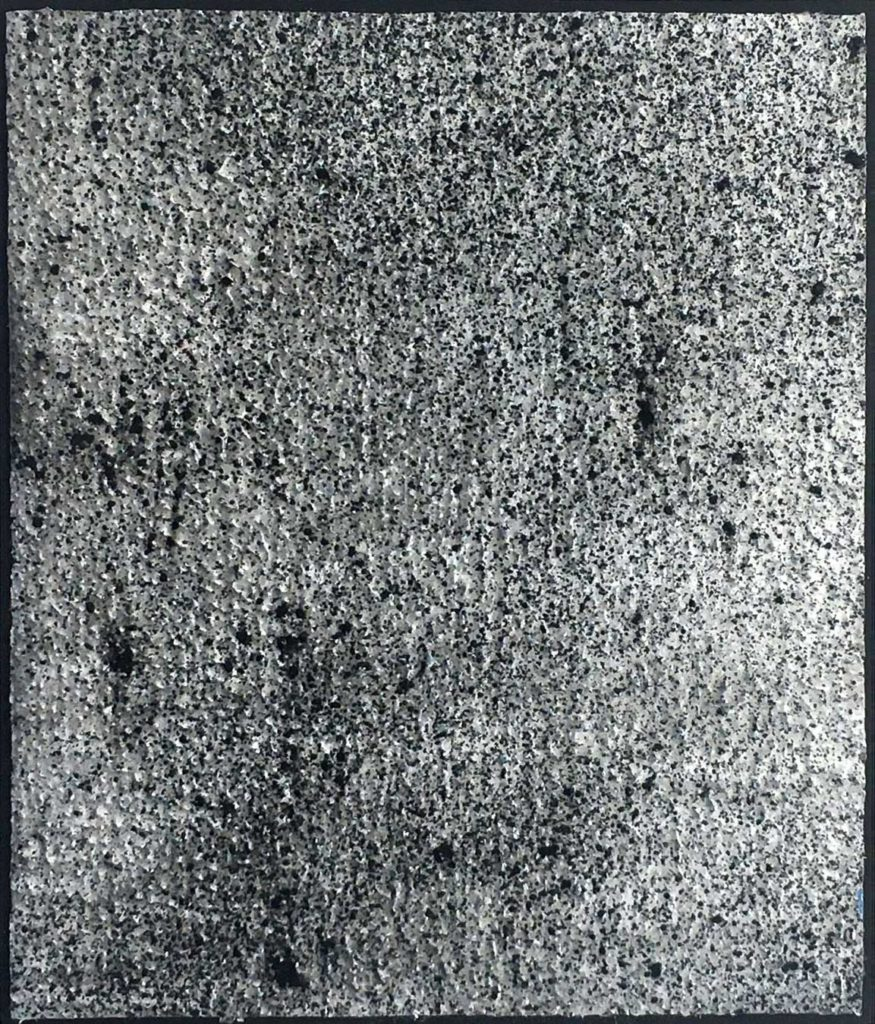 AB#17a-2020(Gravity) 10x15,5cm, charcoal gesso on canvas mounted on panel