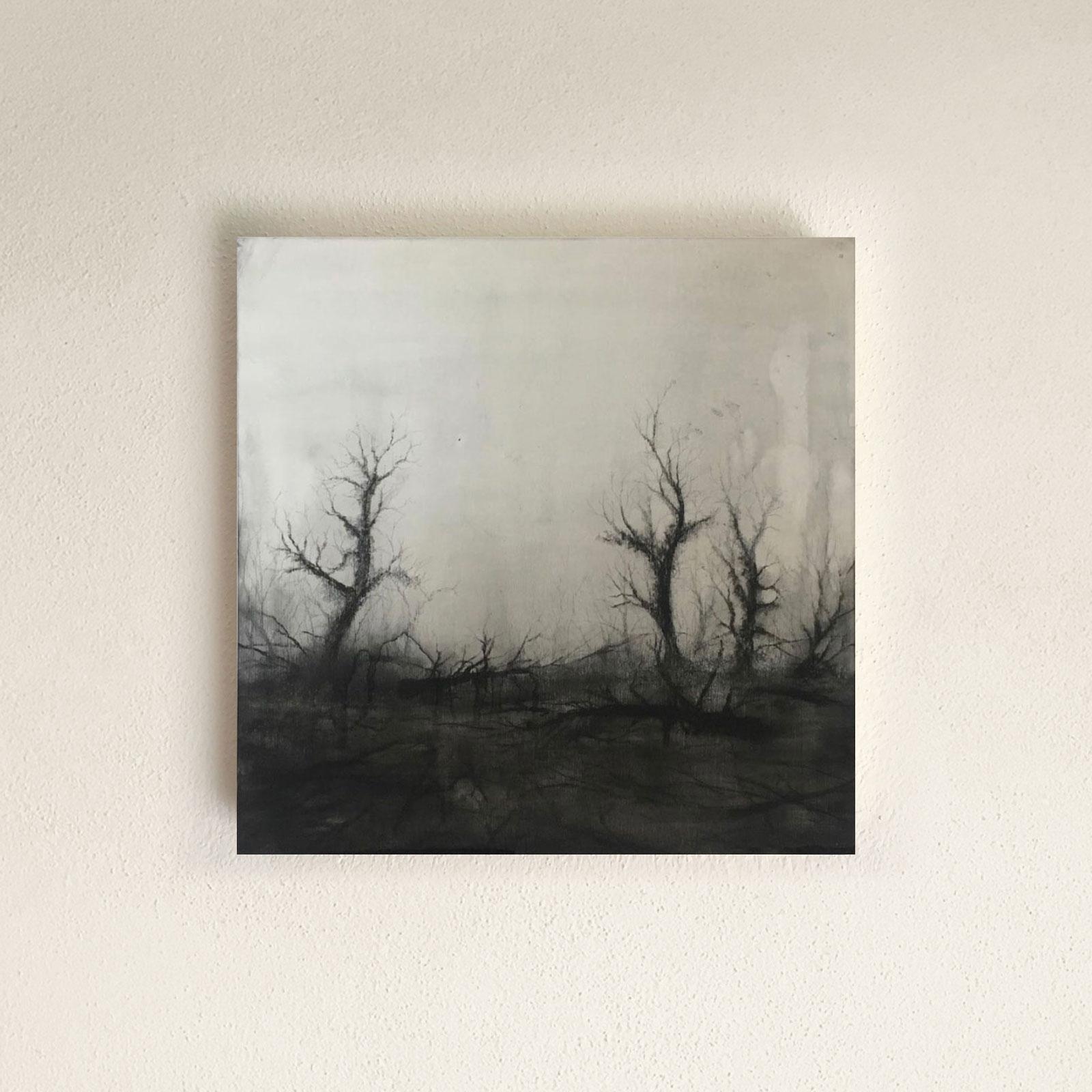 AU#194-2020, 38x38cm, charcoal, gesso, oil on panel